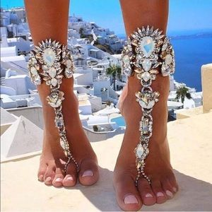 Jewelry - Set of 2 Crystal Bare Foot Sandal Foot Jewelry
